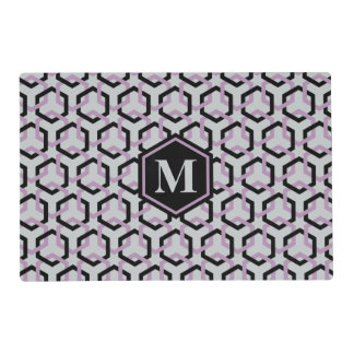 Black and Lavender Hexes Placemat