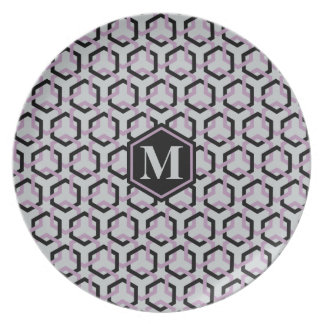 Black and Lavender Hexes Plate
