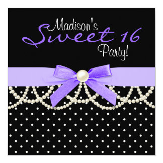 Black and Lavender Purple Sweet 16 Birthday Party Card