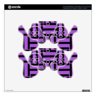 Black and Lavender T Weave Skins For PS3 Controllers