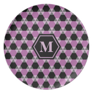 Black and Lavender Triangle-Hex Melamine Plate