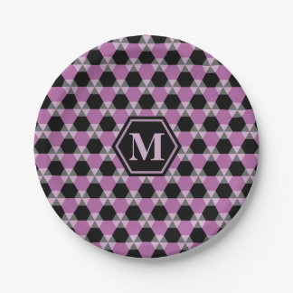 Black and Lavender Triangle-Hex Paper Plate 7 Inch Paper Plate