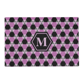 Black and Lavender Triangle-Hex Placemat