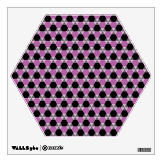 Black and Lavender Triangle-Hex Wall Decal