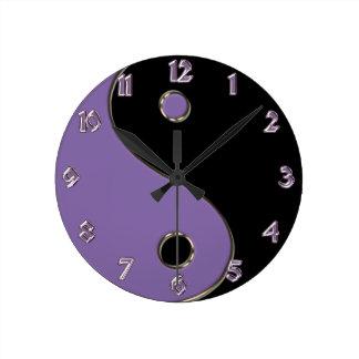 Black and Lavender Yin-Yang Symbol Wall Clock