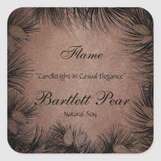 Black and Leather Pine Tree Border Candle Label Square Sticker