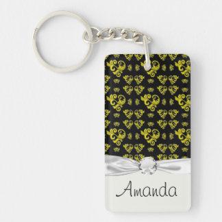 black and lemon yellow swirl leaf damask keychain