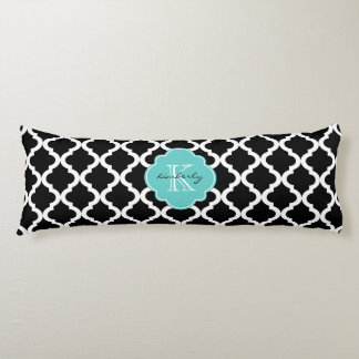 Black and Light Aqua Moroccan Quatrefoil Print Body Pillow