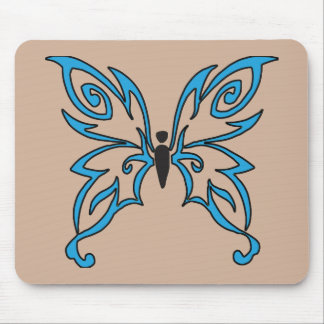 Black and Light Blue Butterfly Mouse Pad