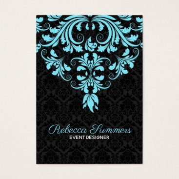 Professional Business Black And Light Blue Floral Lace Business Card