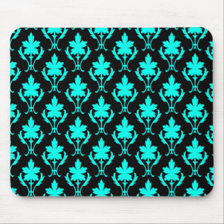 Black And Light Blue Ornate Wallpaper Pattern Mouse Pad