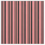 [ Thumbnail: Black and Light Coral Colored Stripes Fabric ]