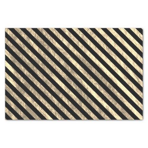 Black and Light Gold Diagonal Stripe Foil Look Tissue Paper