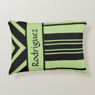 Black and Light Green Stripes Chevrons, Your Name Accent Pillow