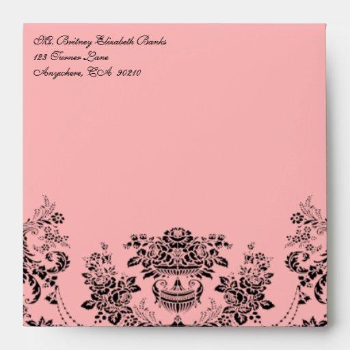 Black and  Light Pink Damask Wedding Envelopes