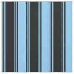 [ Thumbnail: Black and Light Sky Blue Colored Striped Pattern Fabric ]