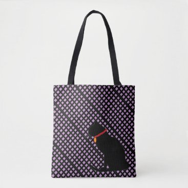 Beach Themed Black And Lilac Plaid Cat Graphic Bag For Beach