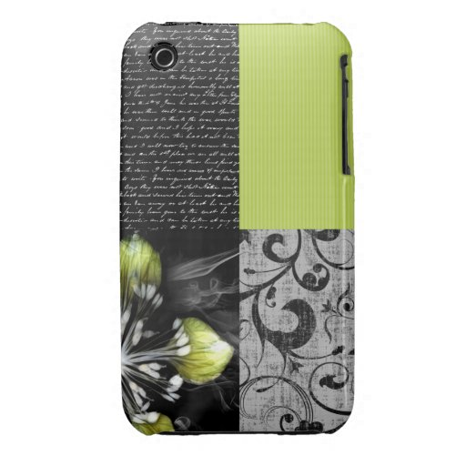 Black And Lime Artwork Case-Mate iPhone 3 Cases