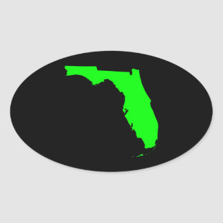Black and Lime Florida Oval Sticker