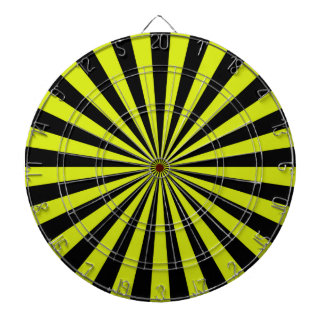 Black and Lime Funky Sun Rays Retro Stripes Dart Board