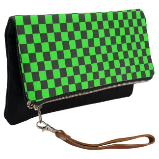 Black and Lime Green Checkerboard Clutch