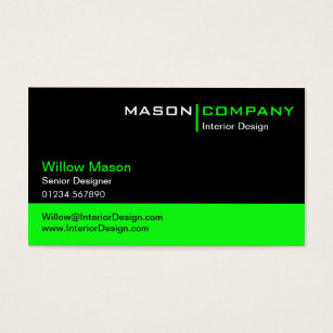 Lime green business cards templates zazzle black and lime green corporate business card reheart Choice Image