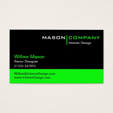 Professional Business Black and Lime Green Corporate Business Card