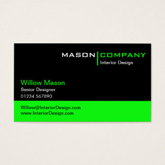 Black and Lime Green Corporate Business Card