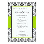 Black and Lime Green Damask Bridal Shower 5x7 Paper Invitation Card