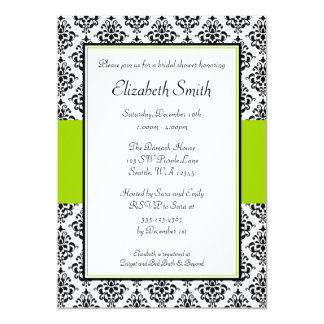 Black and Lime Green Damask Bridal Shower Card