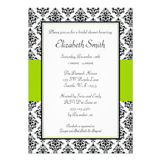 Black and Lime Green Damask Bridal Shower Personalized Invitations