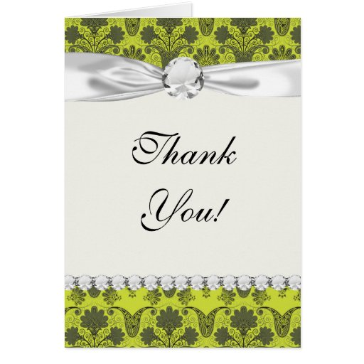 black and lime green damask greeting card