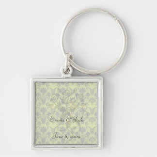 black and lime green damask keychain