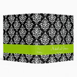 Black and Lime Green Damask Personalized Wedding Binder