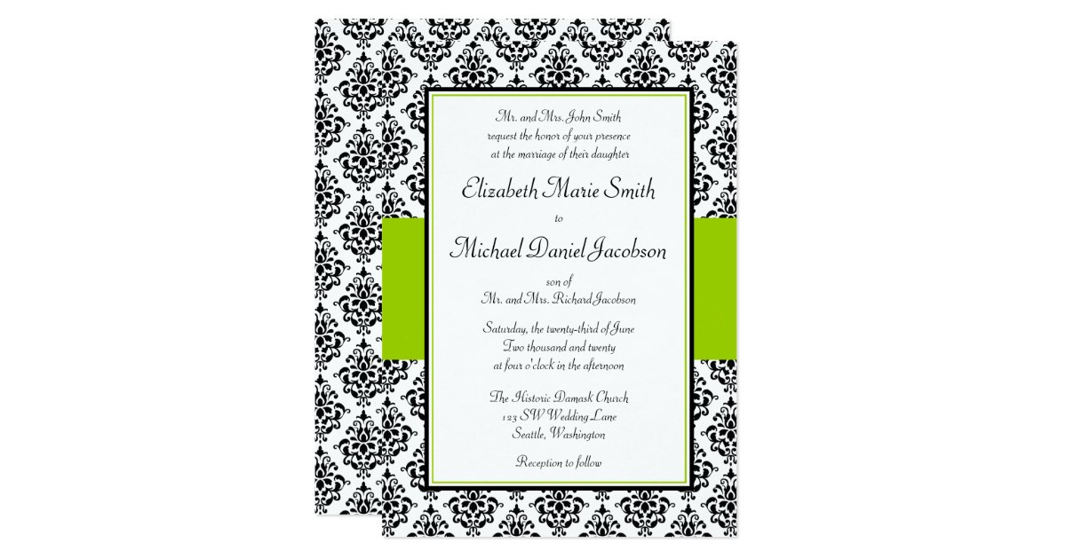 lime green and black damask wedding invitations - 28 images - 66 ...