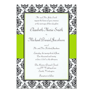 Black and Lime Green Damask Wedding Invitation