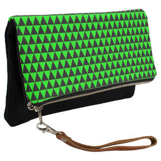 Black and Lime Green Geometric Triangles Clutch
