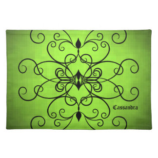 Black and lime green hearts and swirl personalized cloth placemat