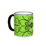 Black and lime green hearts and swirls ringer coffee mug