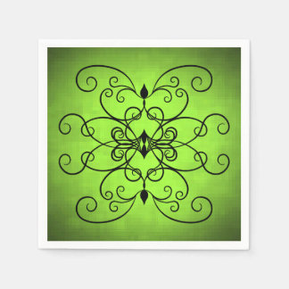 Black and lime green hearts and swirls napkin