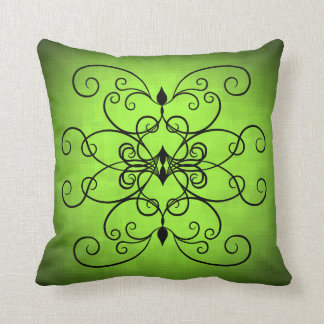 Black and lime green hearts and swirls throw pillow