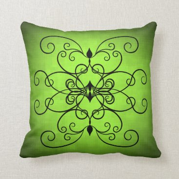 Valentines Themed Black and lime green hearts and swirls throw pillow