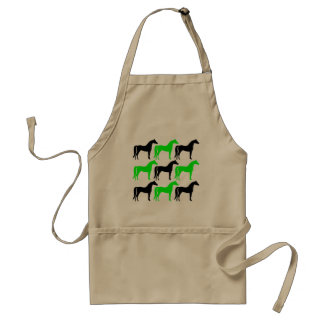 Black and Lime Green Horses Adult Apron