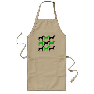 Black and Lime Green Horses Long Apron