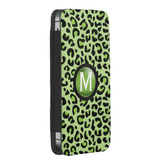 Black and Lime Green Leopard Animal | Monogram iPhone SE/5/5s/5c Pouch