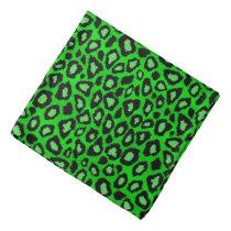 Black and Lime Green Leopard Animal Print Bandana