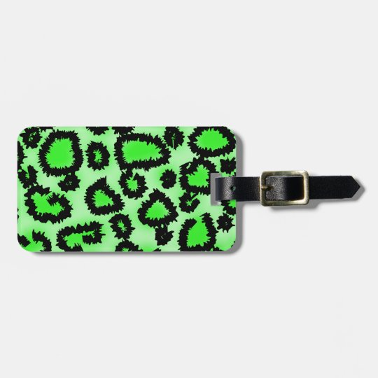 Black and Lime Green Leopard Print Pattern. Bag Tag