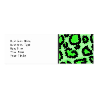 Black and Lime Green Leopard Print Pattern. Double-Sided Mini Business Cards (Pack Of 20)