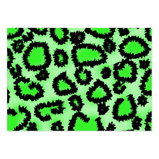 Black and Lime Green Leopard Print Pattern. Business Card