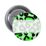Black and Lime Green Leopard Print Pattern. Buttons